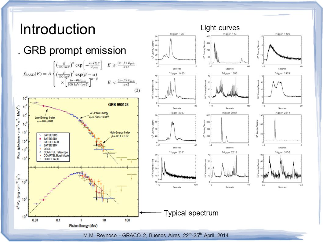 Final comments.) Particle acceleration: included in a simple two-zone model for GRB.) Secondary particles produced in the acceleration zone can get accelerated.) If the escape rate of particles in the acceleration zone is lower than the rate of acceleration, then electrons in the acceleration zone produce synchrotron radiation that can be consistent with the prompt emission..) Neutrinos are produced in both zones by p  and pp interactions.
