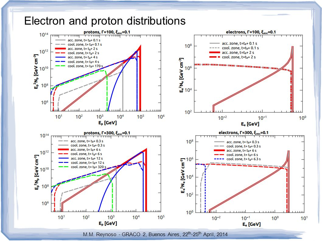 Electron and proton distributions M.M. Reynoso - GRACO 2, Buenos Aires, 22 th -25 th April, 2014