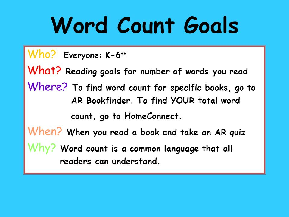 5 th Grade CATS and 6 th Grade Goals 100,000 words 300,000 words 500,000 words 700,000 words 900,000 words 1,100,000 words 1,300,000 words 1,500,000 words