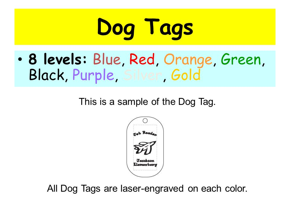 Dog Tags Levels are tied to total word count throughout the year You earn each colored tag by reaching a specific amount of words Your teacher will give you your Dog Tag when you earn it.