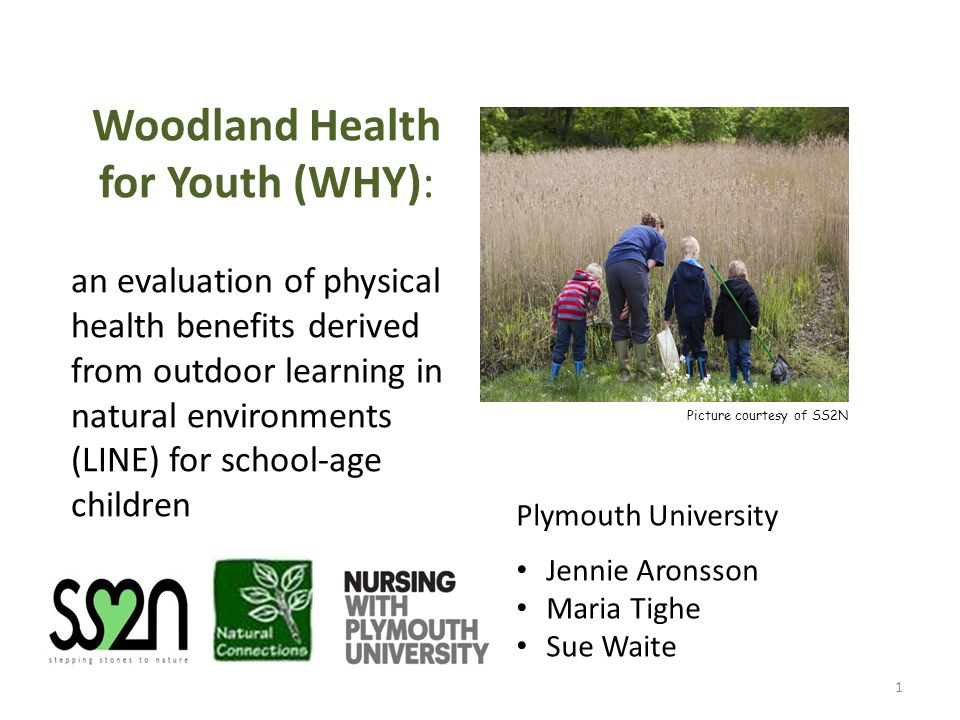 Woodland Health for Youth (WHY): an evaluation of physical health benefits derived from outdoor learning in natural environments (LINE) for school-age children Picture courtesy of SS2N 1 Plymouth University Jennie Aronsson Maria Tighe Sue Waite