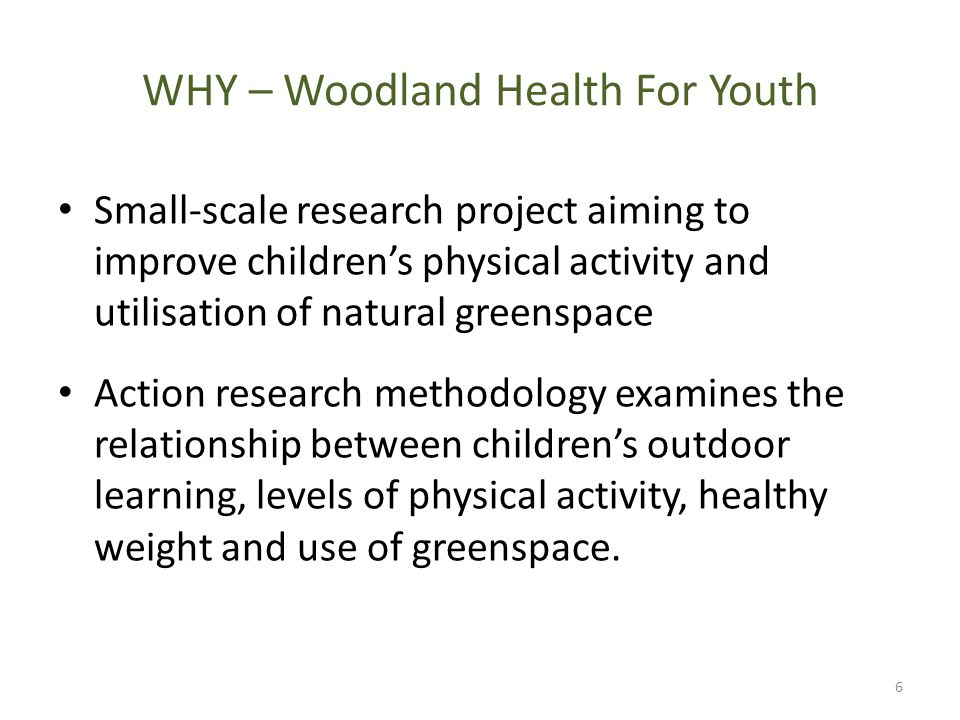 WHY – Woodland Health For Youth Small-scale research project aiming to improve children's physical activity and utilisation of natural greenspace Action research methodology examines the relationship between children's outdoor learning, levels of physical activity, healthy weight and use of greenspace.