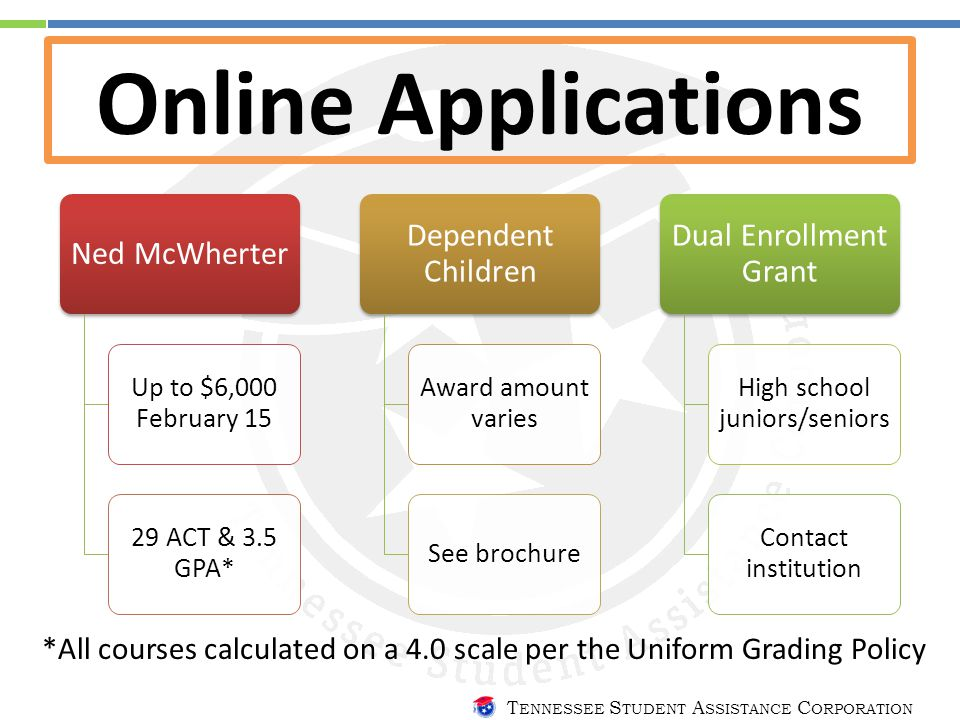 T ENNESSEE S TUDENT A SSISTANCE C ORPORATION Online Applications Ned McWherter Up to $6,000 February 15 29 ACT & 3.5 GPA* Dependent Children Award amount varies See brochure Dual Enrollment Grant High school juniors/seniors Contact institution *All courses calculated on a 4.0 scale per the Uniform Grading Policy