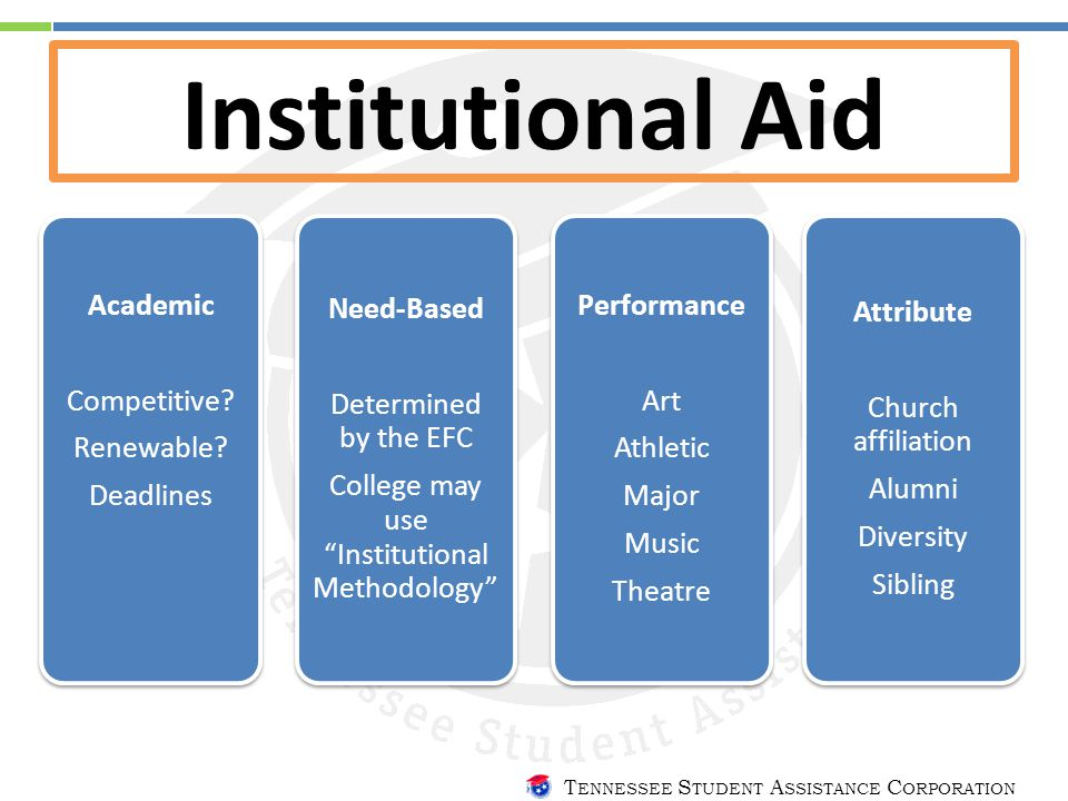 T ENNESSEE S TUDENT A SSISTANCE C ORPORATION Institutional Aid Academic Competitive.