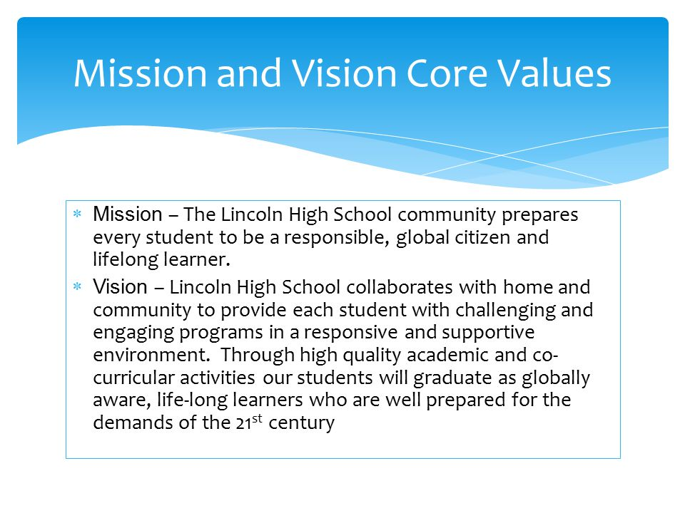  Mission – The Lincoln High School community prepares every student to be a responsible, global citizen and lifelong learner.