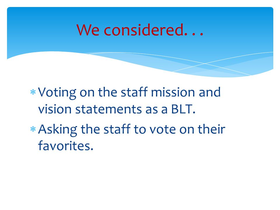  Voting on the staff mission and vision statements as a BLT.