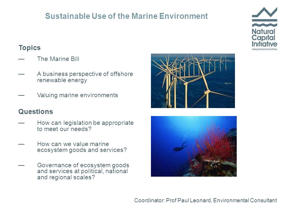 Topics —The Marine Bill —A business perspective of offshore renewable energy —Valuing marine environments Questions —How can legislation be appropriate to meet our needs.
