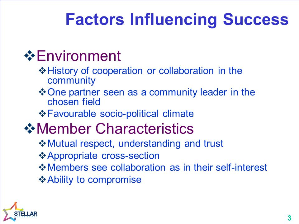 3 Factors Influencing Success  Environment  History of cooperation or collaboration in the community  One partner seen as a community leader in the chosen field  Favourable socio-political climate  Member Characteristics  Mutual respect, understanding and trust  Appropriate cross-section  Members see collaboration as in their self-interest  Ability to compromise