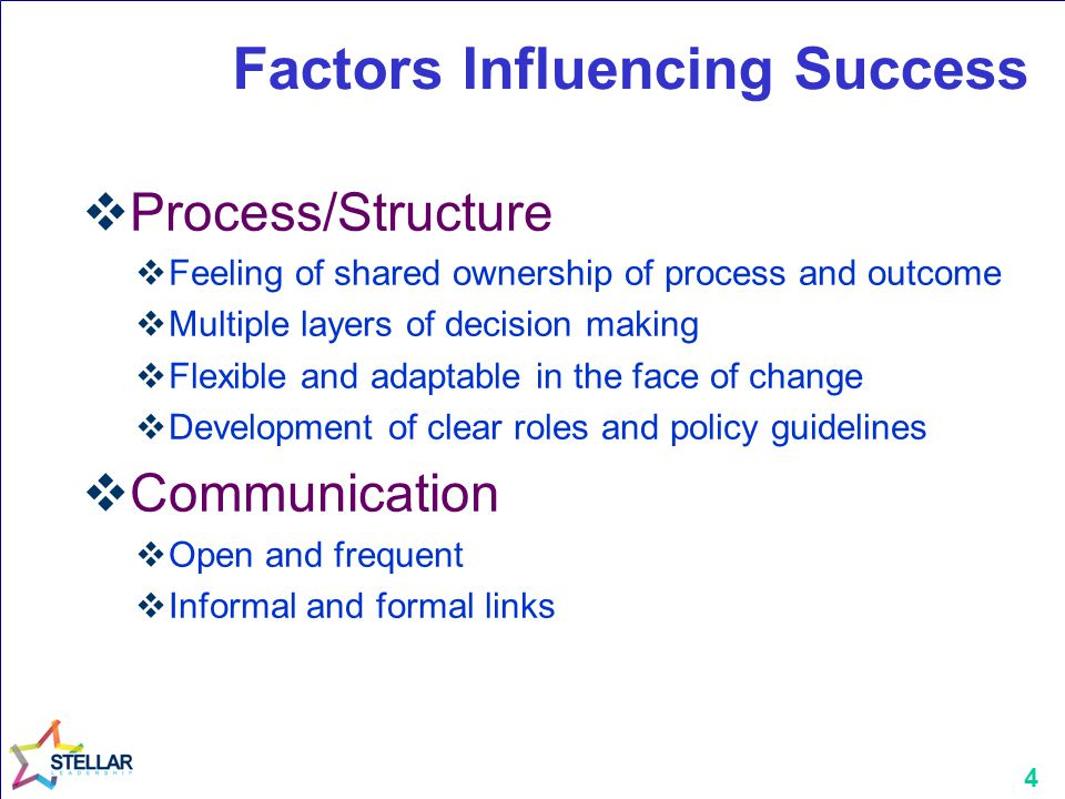 4 Factors Influencing Success  Process/Structure  Feeling of shared ownership of process and outcome  Multiple layers of decision making  Flexible and adaptable in the face of change  Development of clear roles and policy guidelines  Communication  Open and frequent  Informal and formal links