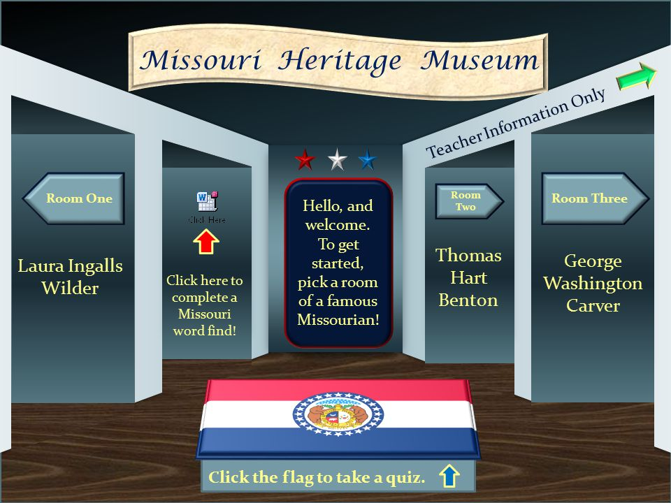 Click the flag to take a quiz. Room One Room Three Missouri Heritage Museum Laura Ingalls Wilder Room Two George Washington Carver Thomas Hart Benton