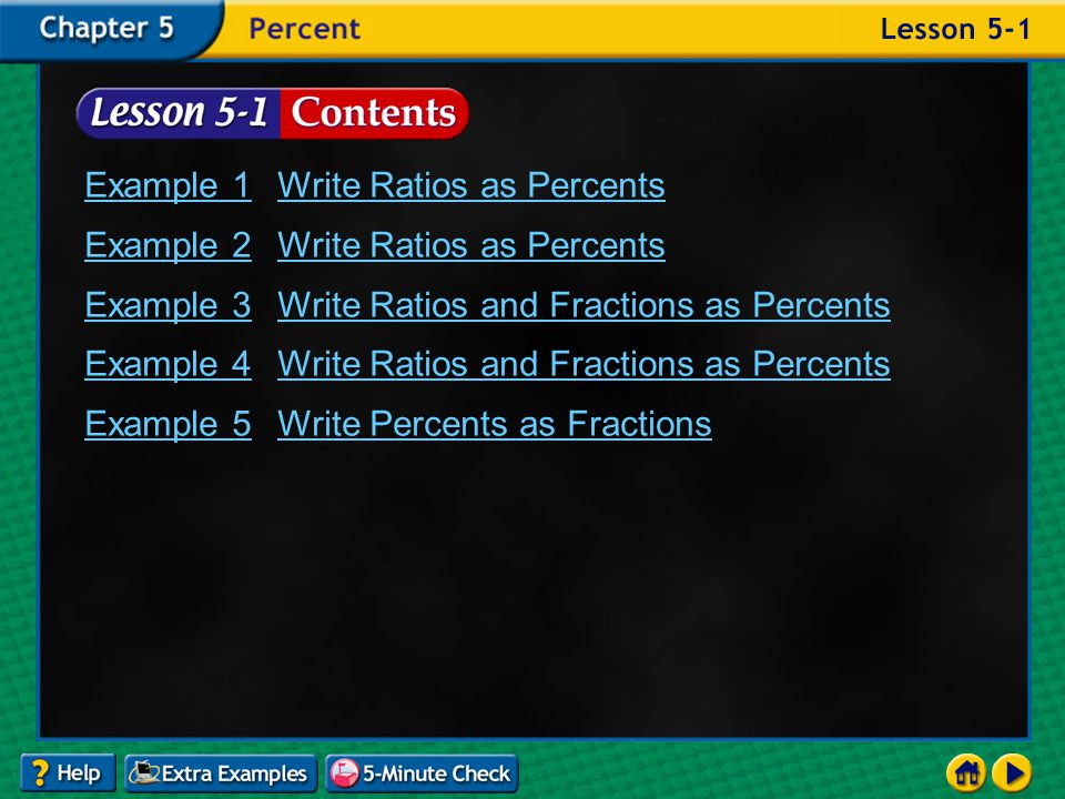 Lesson 1 Contents Example 1Write Ratios as Percents Example 2Write Ratios as Percents Example 3Write Ratios and Fractions as Percents Example 4Write Ratios and Fractions as Percents Example 5Write Percents as Fractions