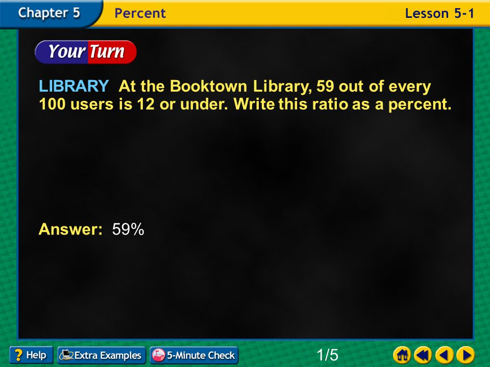 Example 1-1b LIBRARY At the Booktown Library, 59 out of every 100 users is 12 or under.