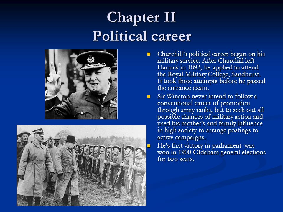 Chapter II Political career Churchill's political career began on his military service.