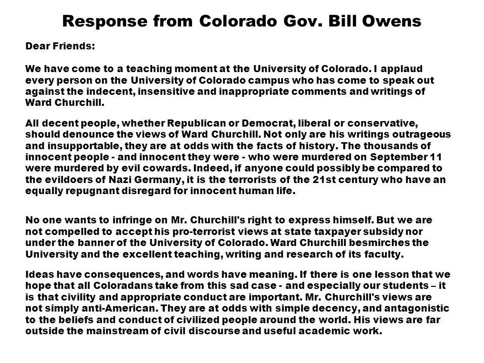 Response from Colorado Gov.