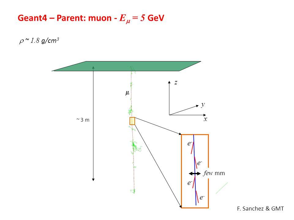 Geant4 – Parent: muon - E  = 5 GeV  ~ 1.8 g/cm 3 ~ 3 m x y z  e-e- e-e- e-e- e-e- F. Sanchez & GMT few mm