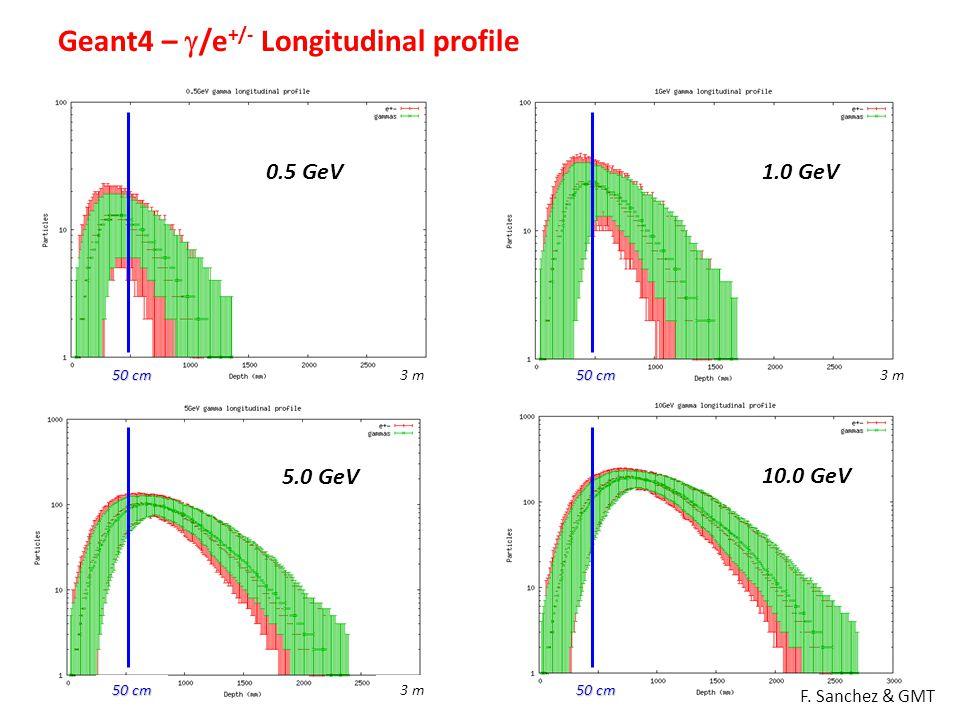 Geant4 –  /e +/- Longitudinal profile 0.5 GeV1.0 GeV 5.0 GeV 10.0 GeV 3 m F. Sanchez & GMT 3 m 50 cm