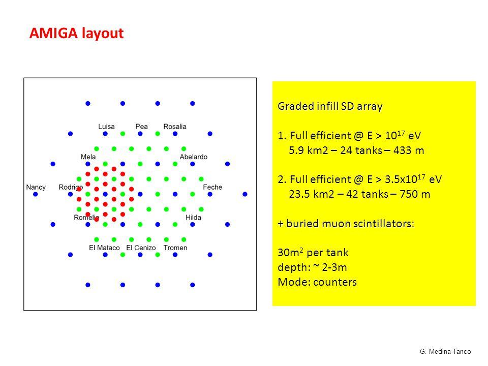 AMIGA layout Graded infill SD array 1. Full efficient @ E > 10 17 eV 5.9 km2 – 24 tanks – 433 m 2. Full efficient @ E > 3.5x10 17 eV 23.5 km2 – 42 tan
