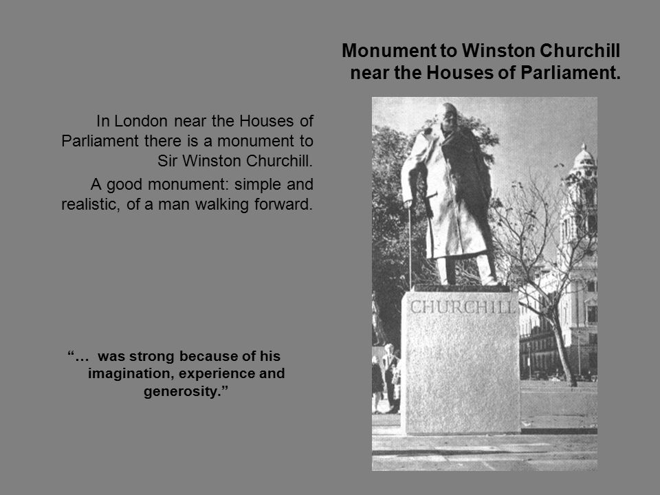 Monument to Winston Churchill near the Houses of Parliament.