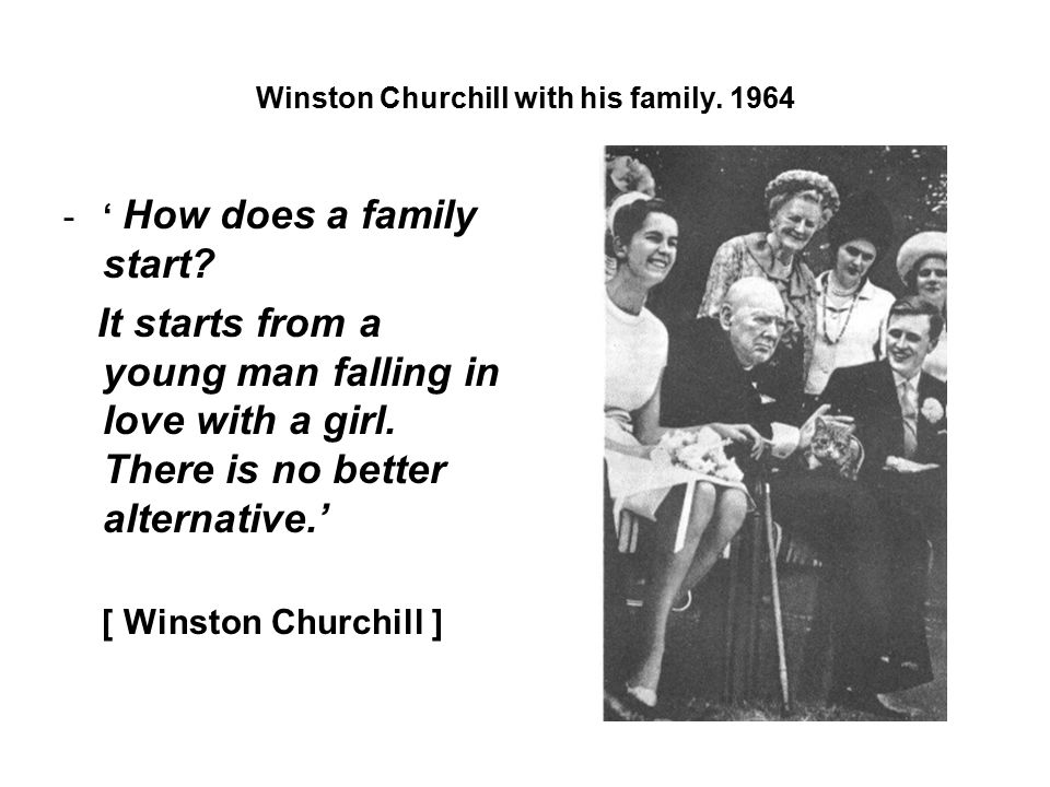 Winston Churchill with his family.1964 -' How does a family start.