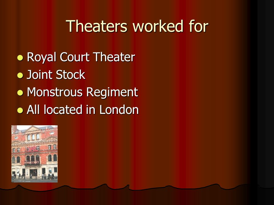 Theaters worked for Royal Court Theater Royal Court Theater Joint Stock Joint Stock Monstrous Regiment Monstrous Regiment All located in London All located in London