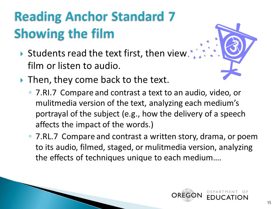  Students read the text first, then view film or listen to audio.