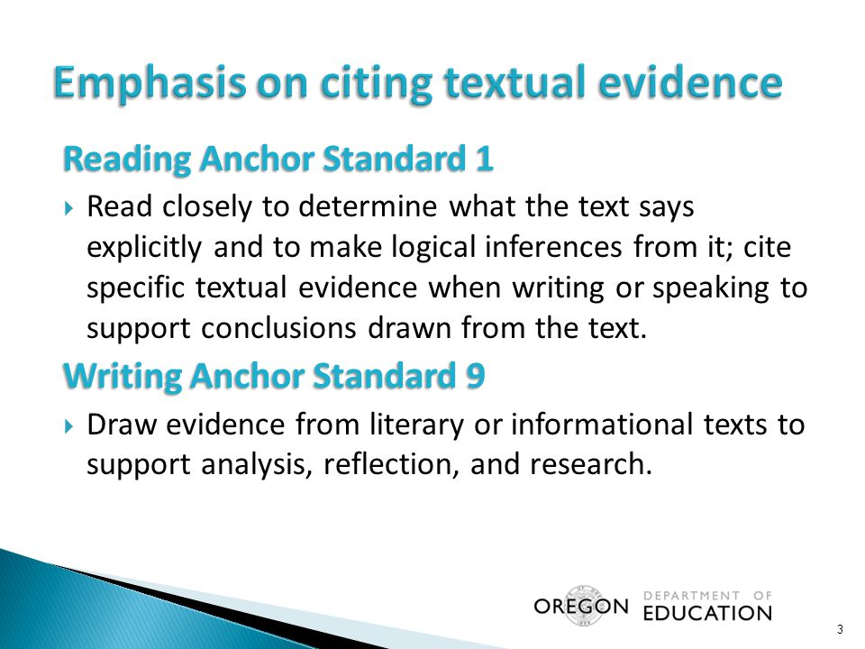 Reading Anchor Standard 1  Read closely to determine what the text says explicitly and to make logical inferences from it; cite specific textual evidence when writing or speaking to support conclusions drawn from the text.