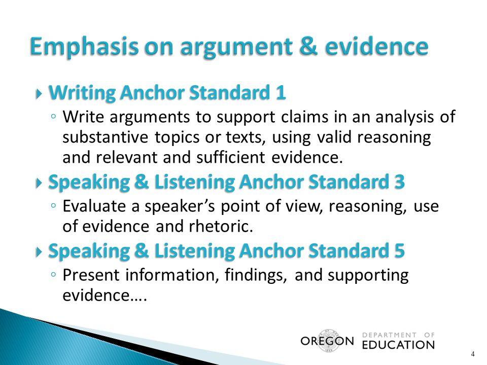  Writing Anchor Standard 1 ◦ Write arguments to support claims in an analysis of substantive topics or texts, using valid reasoning and relevant and