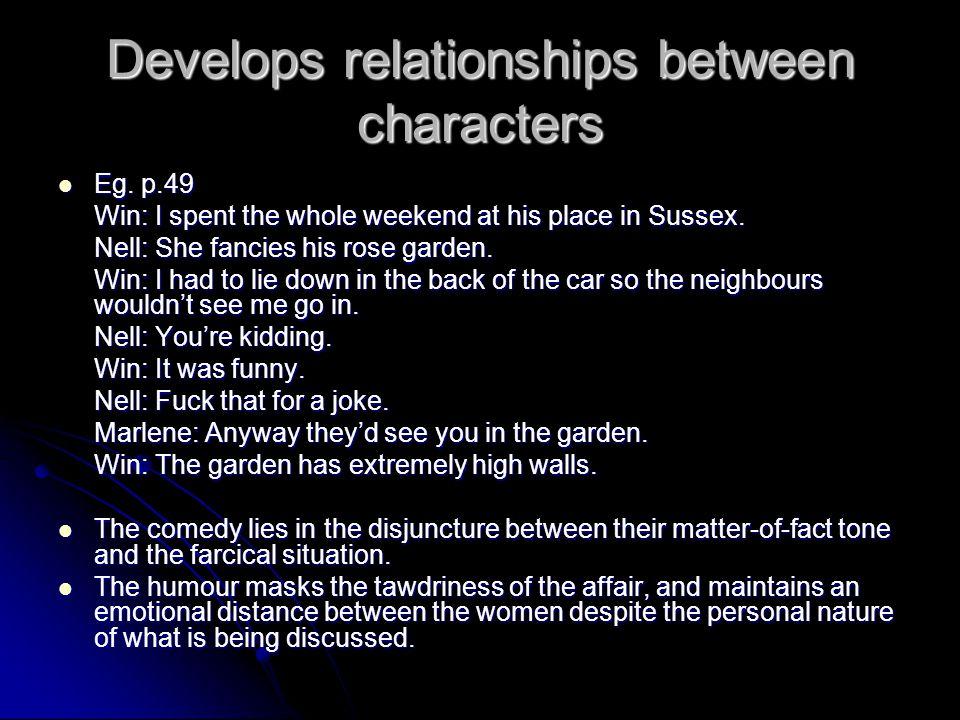 Develops relationships between characters Eg. p.49 Eg.