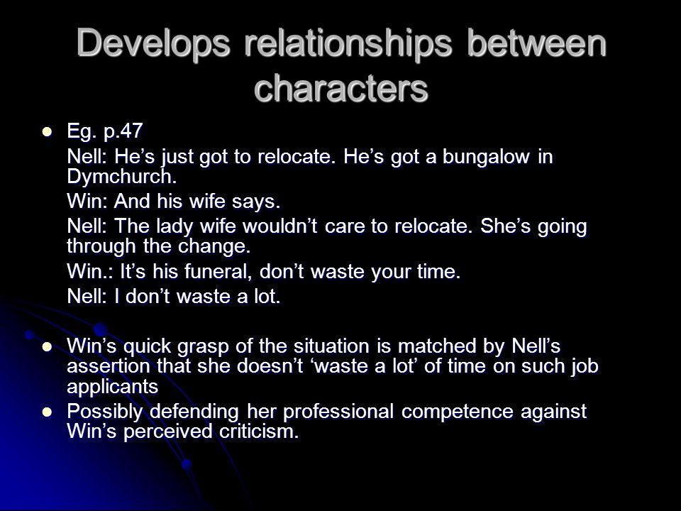 Develops relationships between characters Eg. p.47 Eg.