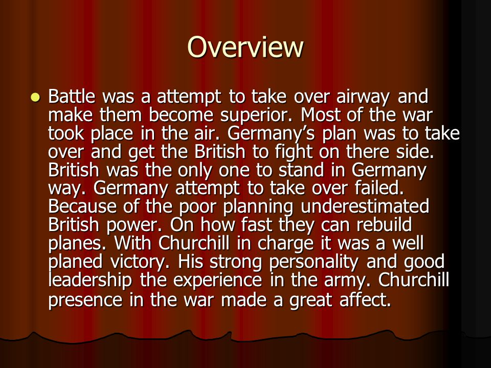 Quiz time What advantage did the British have over Germany.