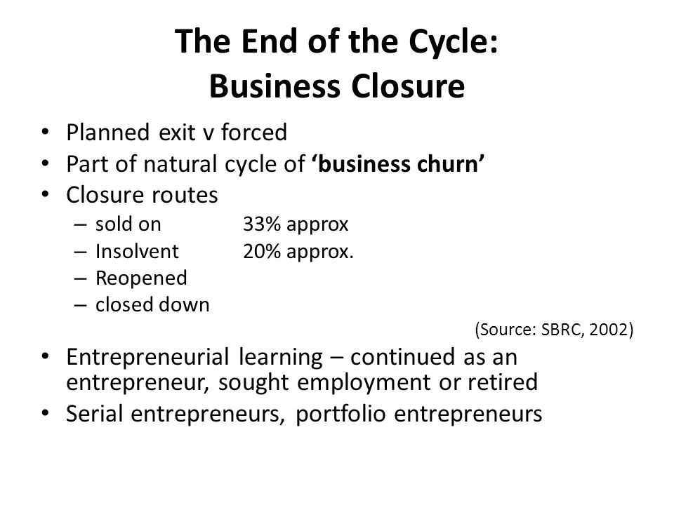 The End of the Cycle: Business Closure Planned exit v forced Part of natural cycle of 'business churn' Closure routes – sold on 33% approx – Insolvent