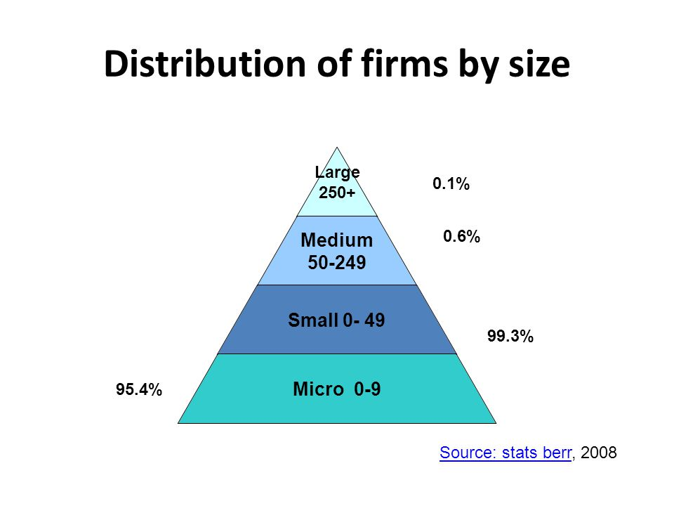 Distribution of firms by size Large 250+ Medium 50-249 Small 0- 49 Micro 0-9 0.1% 0.6% 99.3% 95.4% Source: stats berrSource: stats berr, 2008