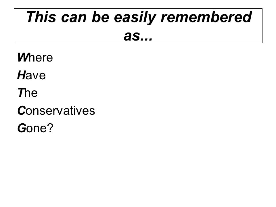 Where Have The Conservatives Gone?