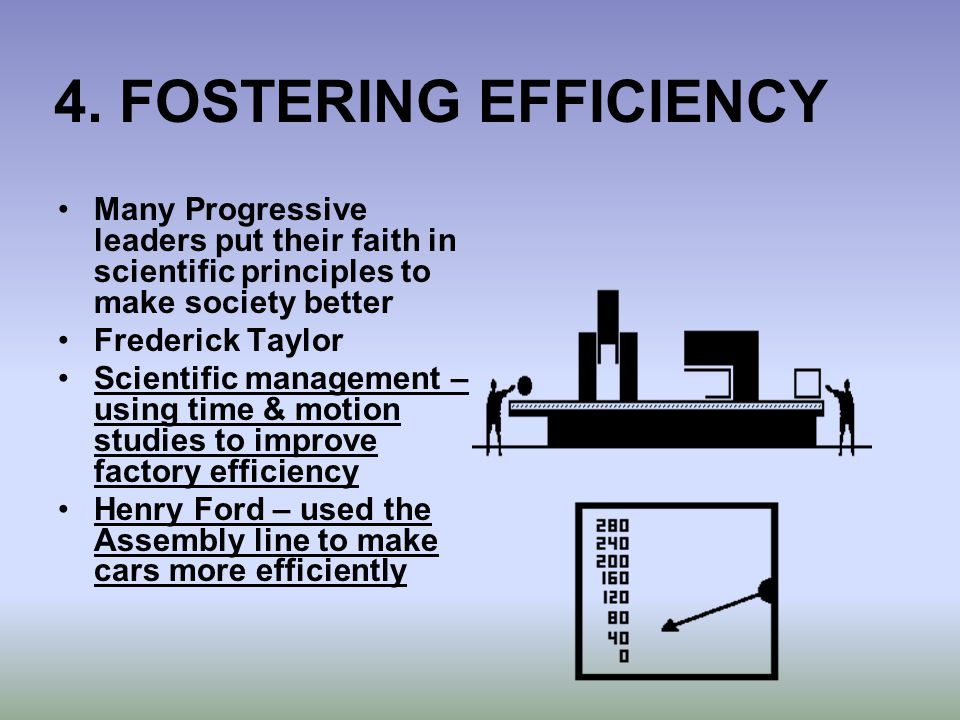 4. FOSTERING EFFICIENCY Many Progressive leaders put their faith in scientific principles to make society better Frederick Taylor Scientific managemen