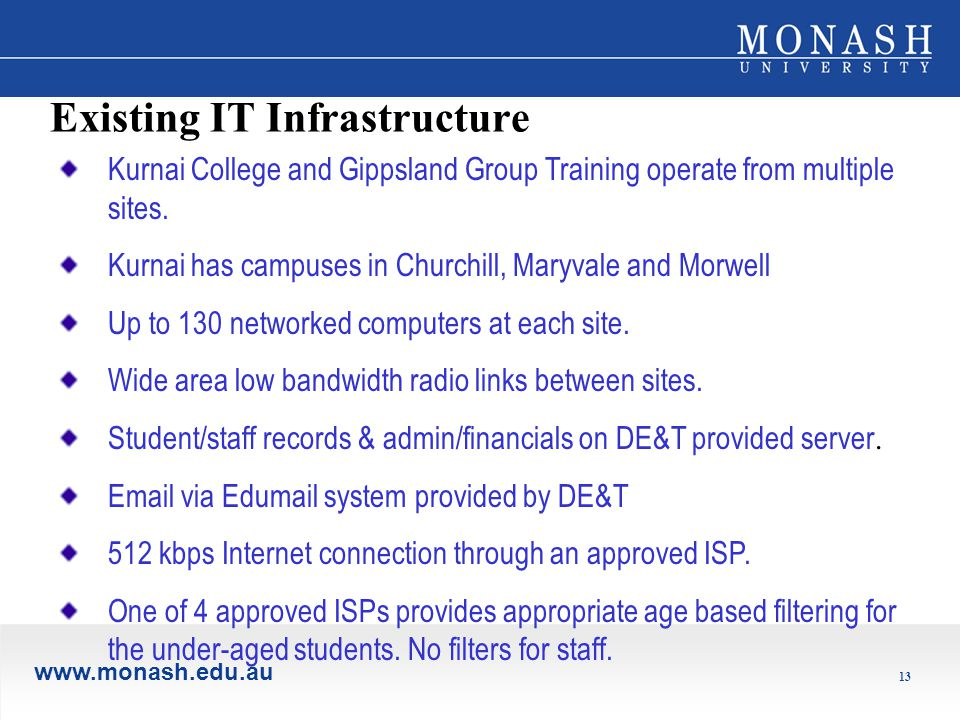 www.monash.edu.au 13 Existing IT Infrastructure Kurnai College and Gippsland Group Training operate from multiple sites.