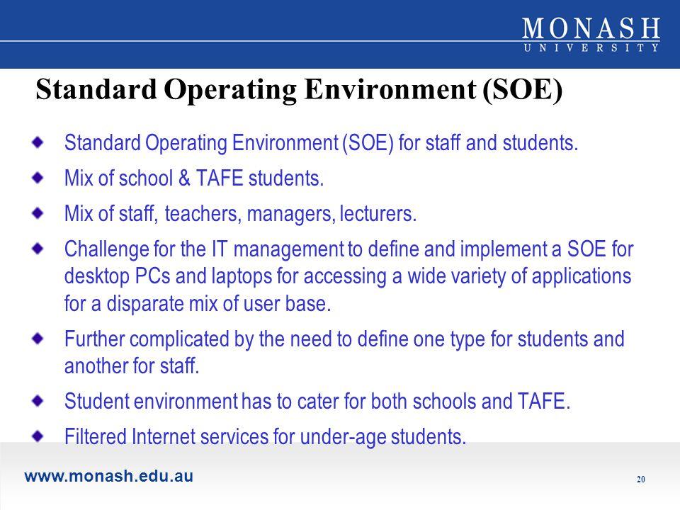 www.monash.edu.au 20 Standard Operating Environment (SOE) Standard Operating Environment (SOE) for staff and students.