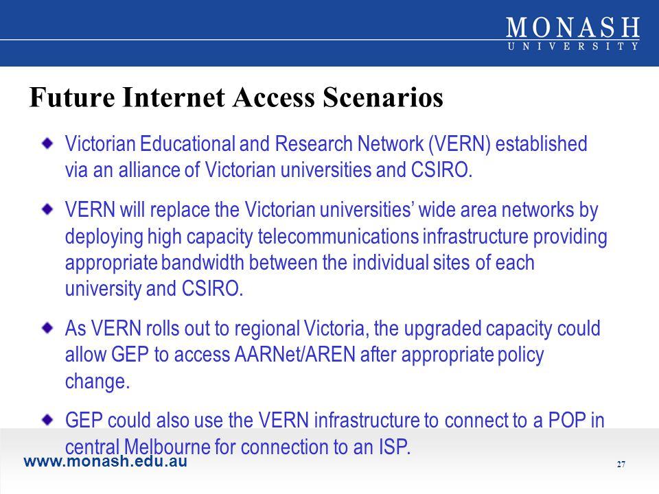 www.monash.edu.au 27 Future Internet Access Scenarios Victorian Educational and Research Network (VERN) established via an alliance of Victorian universities and CSIRO.