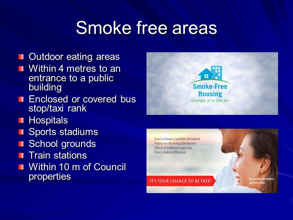 Smoke free areas – target groups Pregnant women Indigenous populations Young people Smoke free workplaces