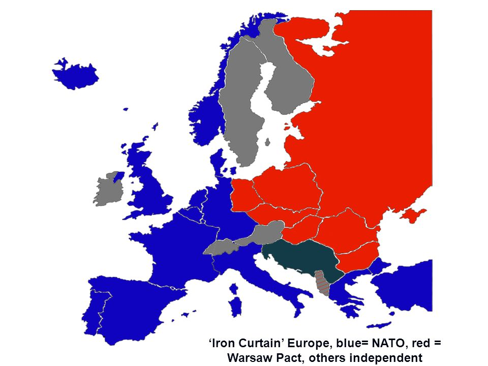 'Iron Curtain' Europe, blue= NATO, red = Warsaw Pact, others independent
