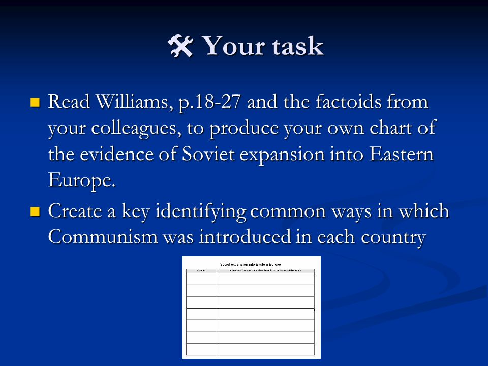  Your task Read Williams, p.18-27 and the factoids from your colleagues, to produce your own chart of the evidence of Soviet expansion into Eastern Europe.