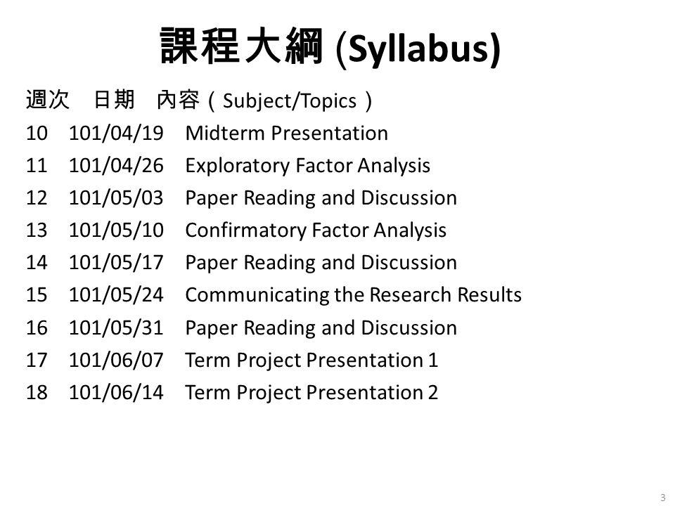 週次 日期 內容( Subject/Topics ) 10 101/04/19 Midterm Presentation 11 101/04/26 Exploratory Factor Analysis 12 101/05/03 Paper Reading and Discussion 13 101