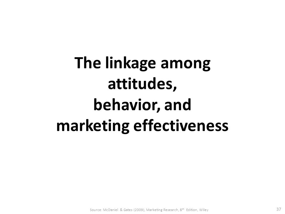 The linkage among attitudes, behavior, and marketing effectiveness 37 Source: McDaniel & Gates (2009), Marketing Research, 8 th Edition, Wiley
