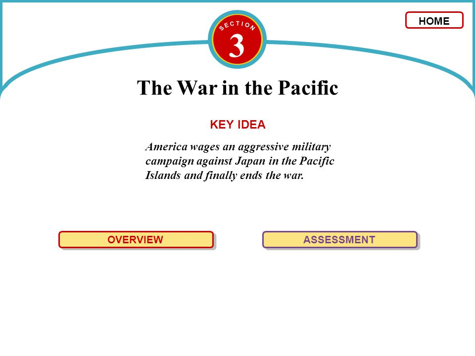 3 The War in the Pacific America wages an aggressive military campaign against Japan in the Pacific Islands and finally ends the war. OVERVIEW ASSESSM