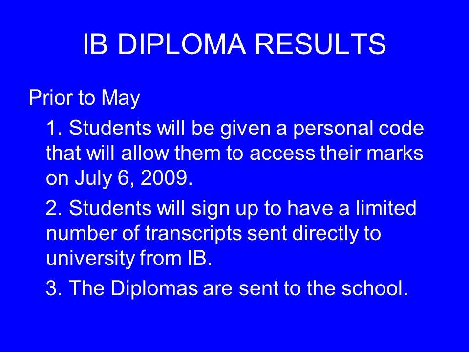 IB DIPLOMA RESULTS Prior to May 1.