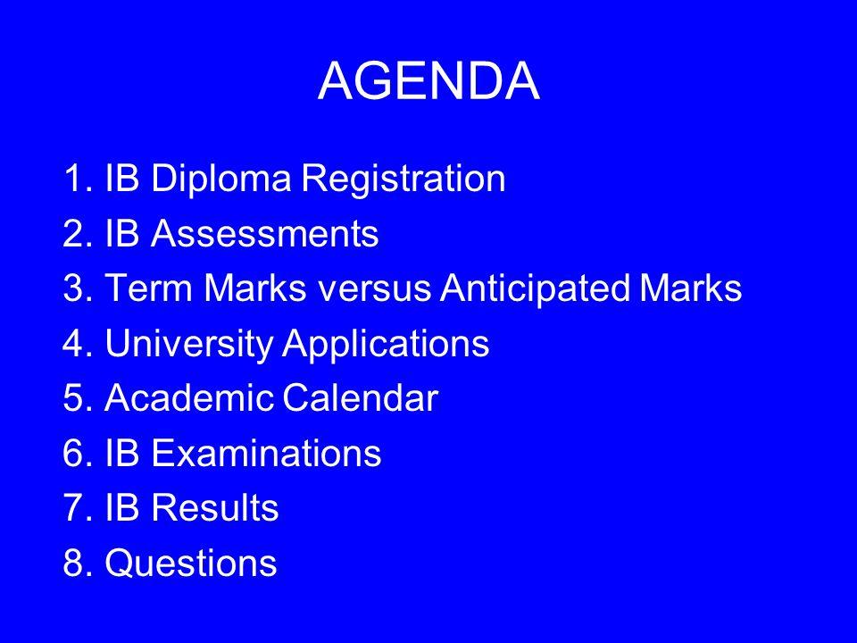 AGENDA 1. IB Diploma Registration 2. IB Assessments 3.