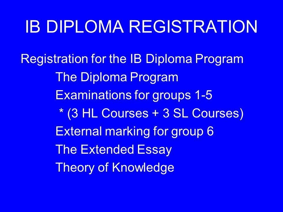 IB DIPLOMA REGISTRATION Registration for the IB Diploma Program The Diploma Program Examinations for groups 1-5 * (3 HL Courses + 3 SL Courses) External marking for group 6 The Extended Essay Theory of Knowledge
