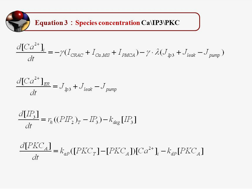Equation 3 : Species concentration Ca\IP3\PKC