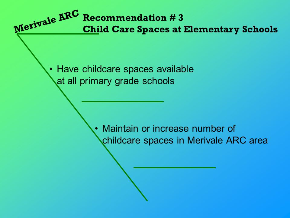 Merivale ARC Recommendation # 3 Child Care Spaces at Elementary Schools Maintain or increase number of childcare spaces in Merivale ARC area Have childcare spaces available at all primary grade schools