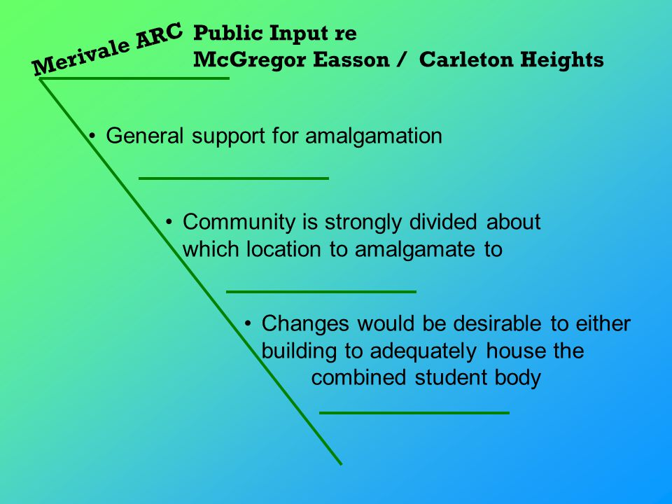 Merivale ARC Public Input re McGregor Easson / Carleton Heights Changes would be desirable to either building to adequately house the combined student body General support for amalgamation Community is strongly divided about which location to amalgamate to