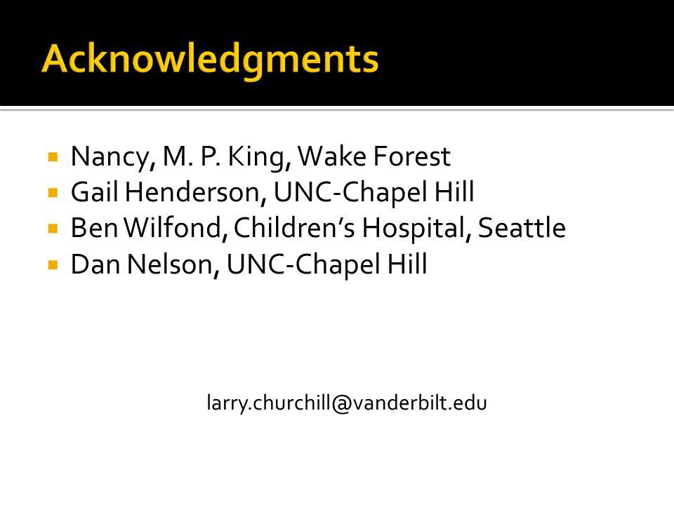  Nancy, M. P. King, Wake Forest  Gail Henderson, UNC-Chapel Hill  Ben Wilfond, Children's Hospital, Seattle  Dan Nelson, UNC-Chapel Hill larry.chu